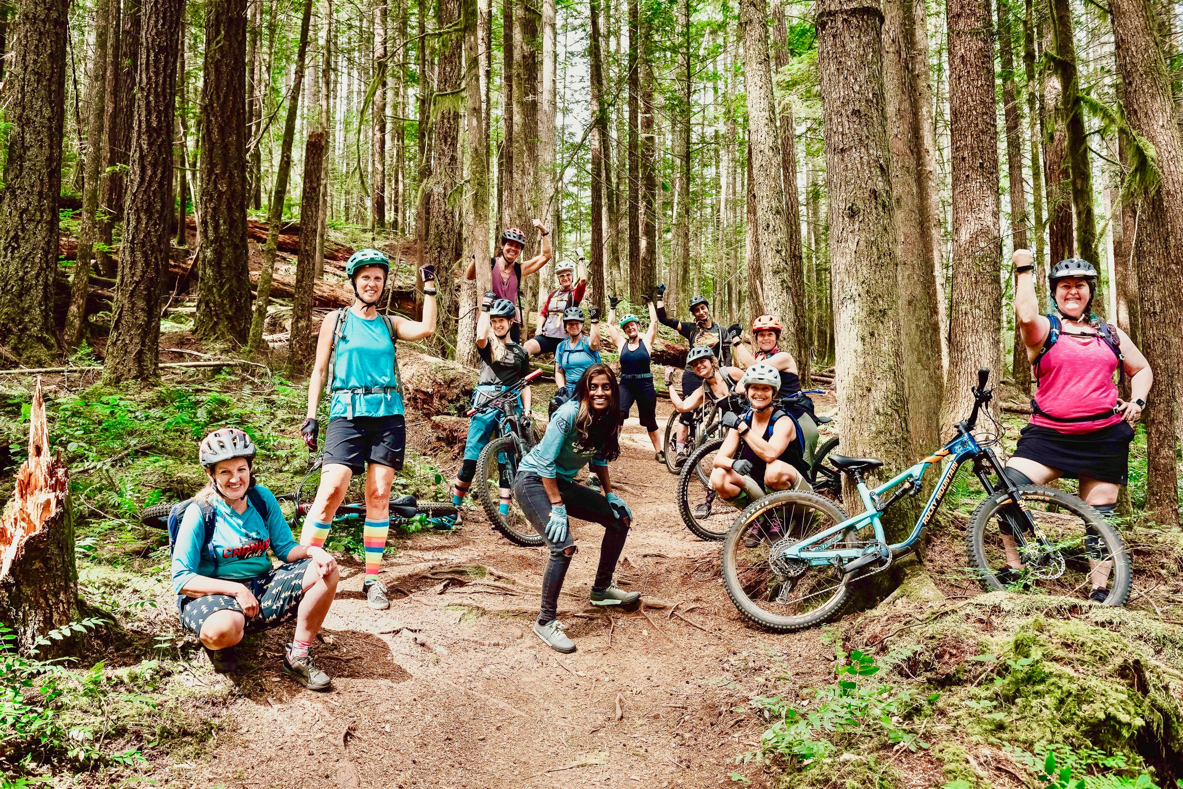 Group of mountain bikers in the woods